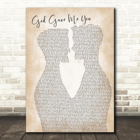Dave Barnes God Gave Me You Two Men Gay Couple Wedding Song Lyric Music Art Print
