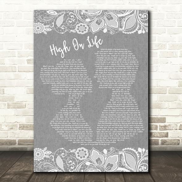 Martin Garrix High On Life Grey Burlap & Lace Song Lyric Music Art Print