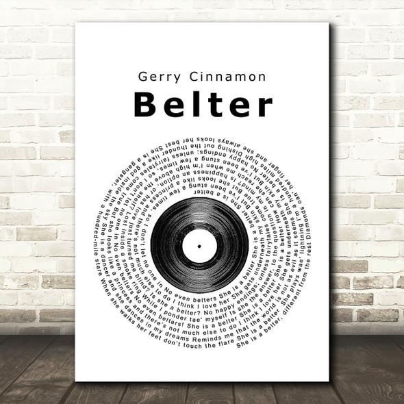 Gerry Cinnamon Belter Vinyl Record Song Lyric Quote Print