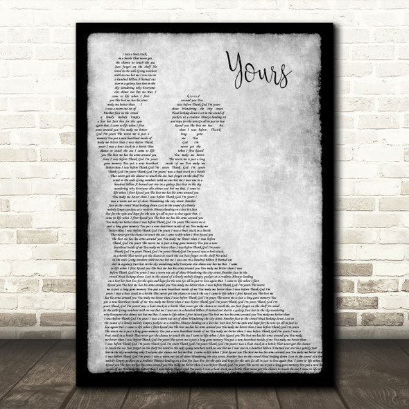 Russell Dickerson Yours Grey Man Lady Dancing Song Lyric Music Art Print