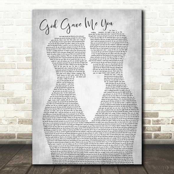 Dave Barnes God Gave Me You Two Men Gay Couple Wedding Grey Song Lyric Music Art Print