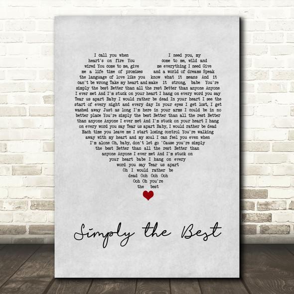 Noah Reid Simply the Best Grey Heart Song Lyric Music Art Print