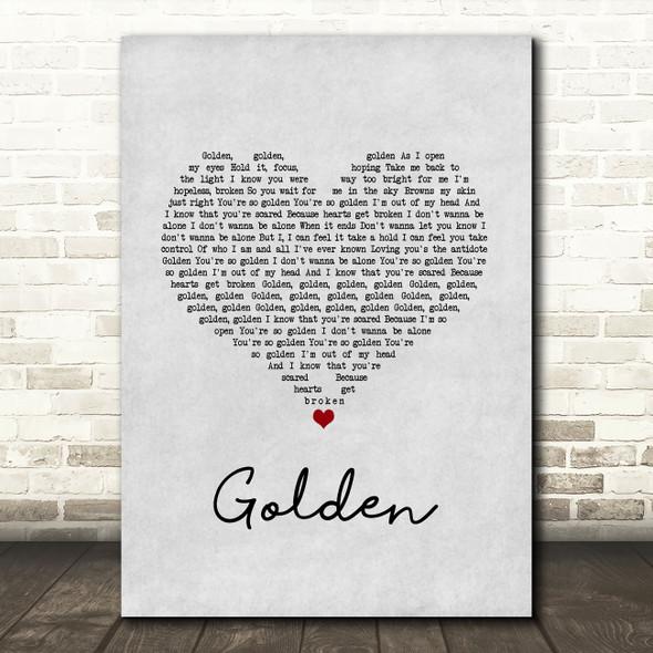 Harry Styles Golden Grey Heart Song Lyric Music Art Print