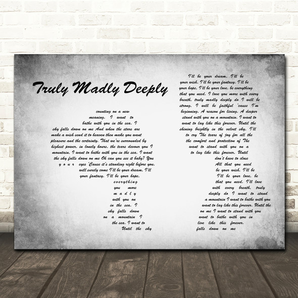 Savage Garden Truly Madly Deeply Man Lady Couple Grey Song Lyric Music Art Print