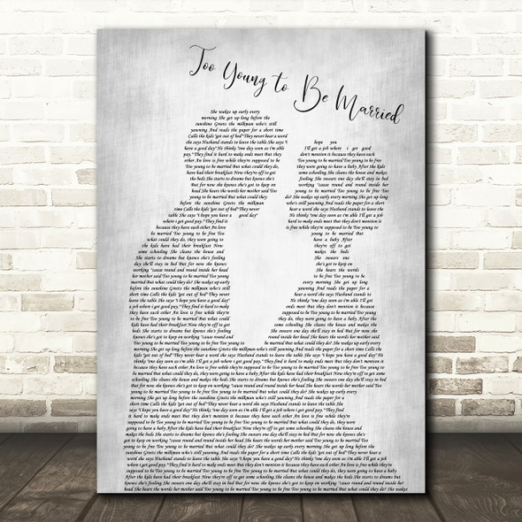 The Hollies Too Young to Be Married Man Lady Bride Groom Wedding Grey Song Lyric Music Art Print