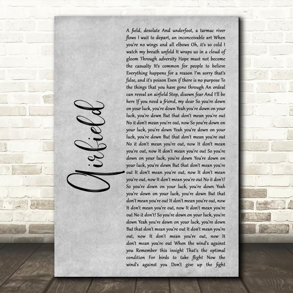 Enter Shikari Airfield Grey Rustic Script Song Lyric Music Art Print