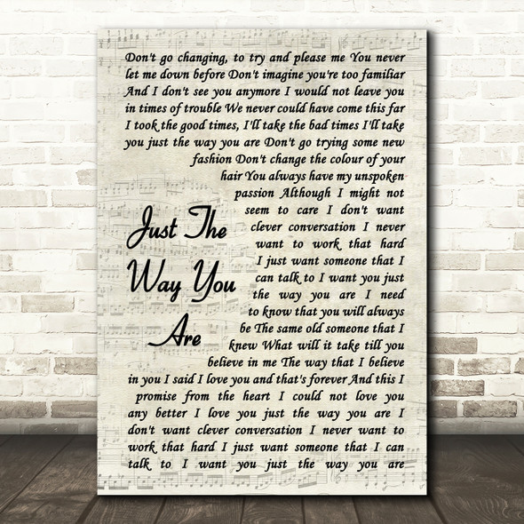 Billy Joel Just The Way You Are Vintage Script Song Lyric Quote Print