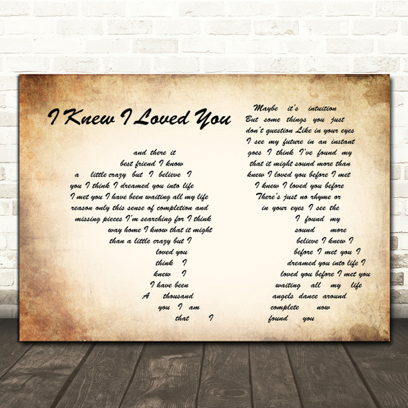 Savage Garden I Knew I Loved You Man Lady Couple Song Lyric Music Art Print