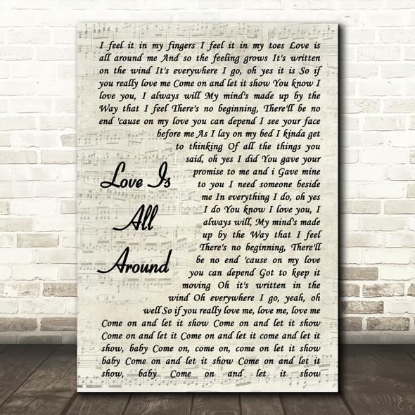 Wet Wet Wet Love Is All Around Vintage Script Song Lyric Quote Print