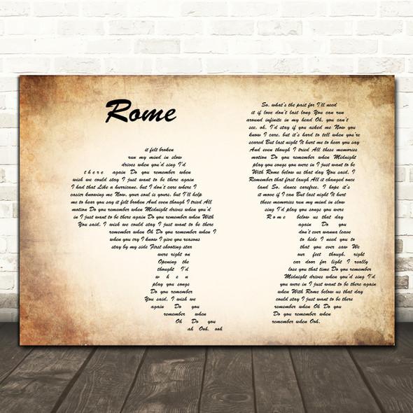 Dermot Kennedy Rome Man Lady Couple Song Lyric Music Art Print