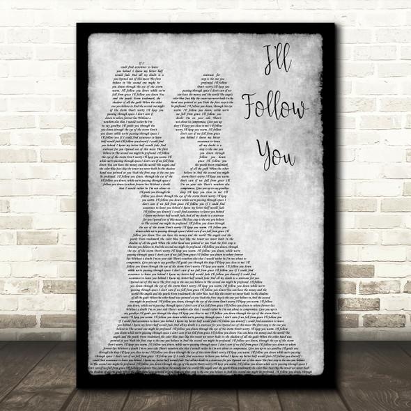 Shinedown I'll Follow You Lesbian Couple Two Ladies Dancing Grey Song Lyric Music Art Print