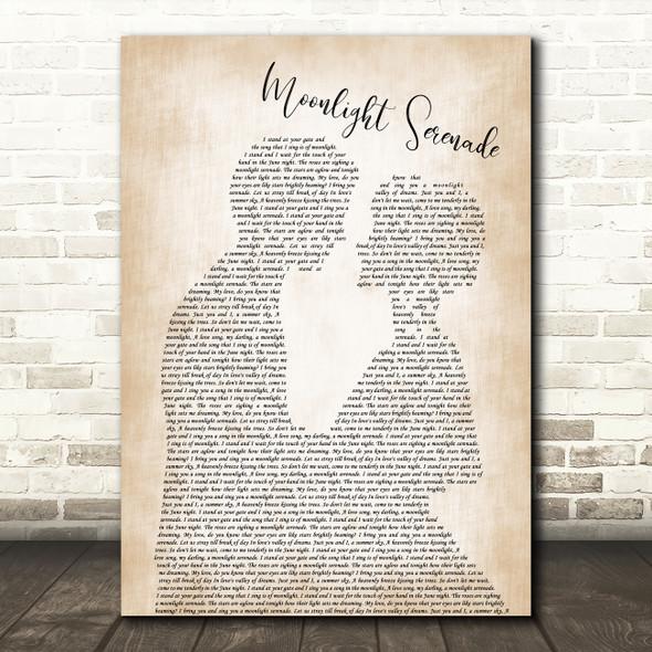 Glenn Miller Moonlight Serenade Man Lady Bride Groom Wedding Song Lyric Music Art Print