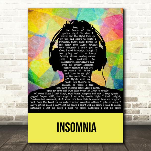 Faithless Insomnia Multicolour Man Headphones Song Lyric Music Art Print