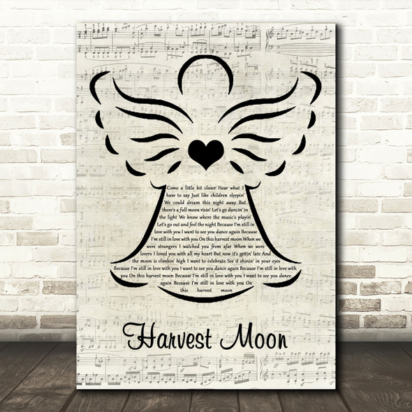 Neil Young Harvest Moon Music Script Angel Song Lyric Music Art Print
