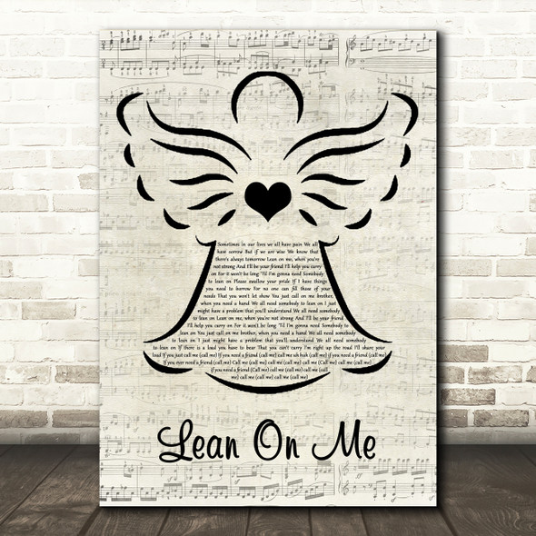 Bill Withers Lean On Me Music Script Angel Song Lyric Music Art Print