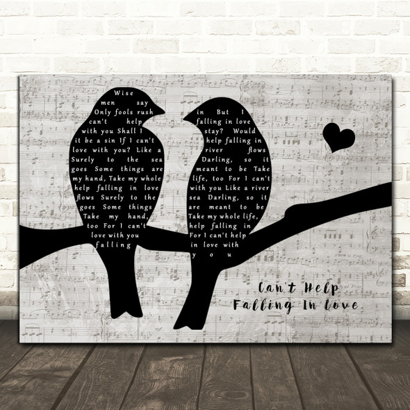 Elvis Presley Can't Help Falling In Love Lovebirds Music Script Song Lyric Music Art Print