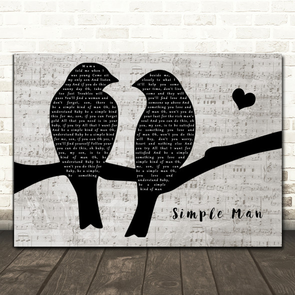 Lynyrd Skynyrd Simple Man Lovebirds Music Script Song Lyric Music Art Print