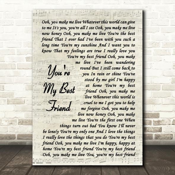 Queen You're My Best Friend Vintage Script Song Lyric Quote Print