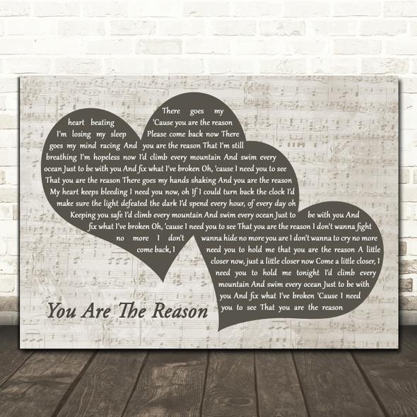 Callum Scott & Leona Lewis You Are The Reason Landscape Music Script Two Hearts Song Lyric Music Art Print