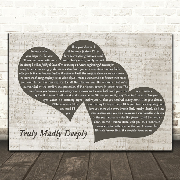 Savage Garden Truly Madly Deeply Landscape Music Script Two Hearts Song Lyric Music Art Print