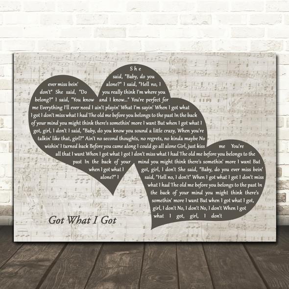 Jason Aldean Got What I Got Landscape Music Script Two Hearts Song Lyric Music Art Print