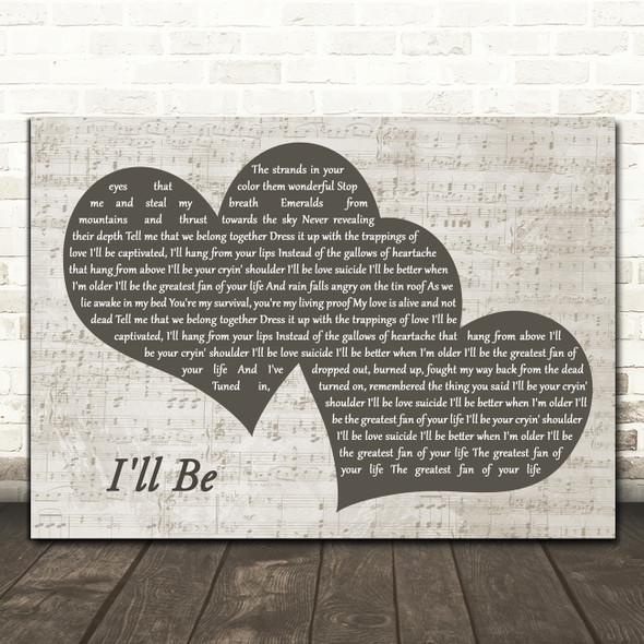 Edwin McCain I'll Be Landscape Music Script Two Hearts Song Lyric Music Art Print