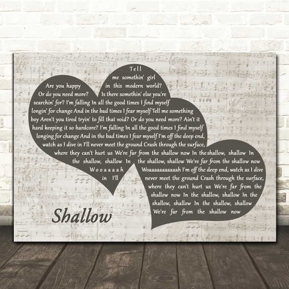 Lady Gaga & Bradley Cooper Shallow Landscape Music Script Two Hearts Song Lyric Music Art Print