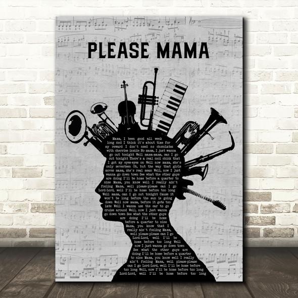 Go Cat Go Please Mama Please Musical Instrument Mohawk Song Lyric Music Art Print