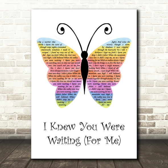 George Michael I Knew You Were Waiting (For Me) Rainbow Butterfly Song Lyric Music Art Print