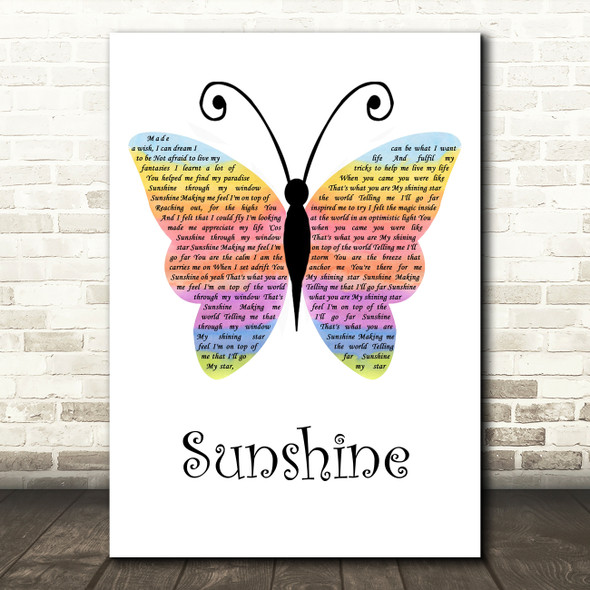 Gabrielle Sunshine Rainbow Butterfly Song Lyric Music Art Print