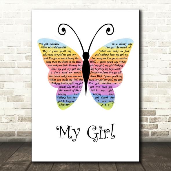 The Temptations My Girl Rainbow Butterfly Song Lyric Music Art Print
