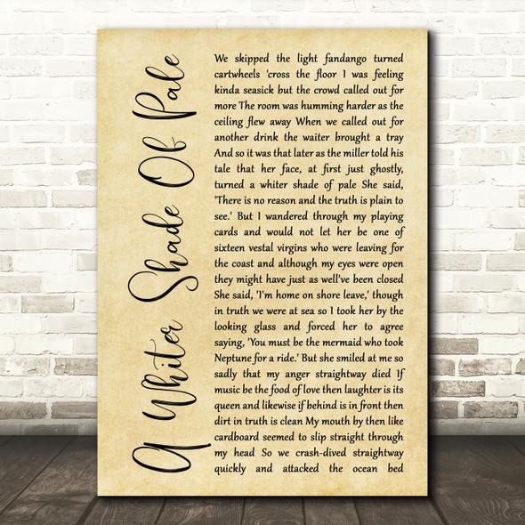 Procol Harum A Whiter Shade Of Pale Rustic Script Song Lyric Music Art Print