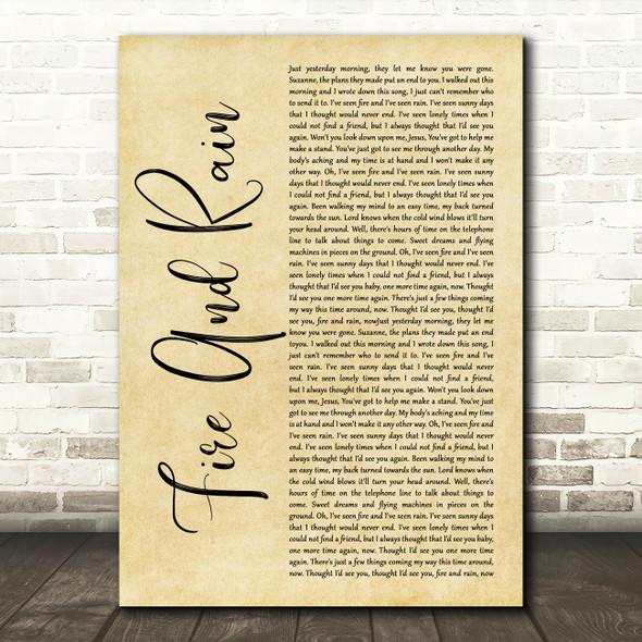 James Taylor Fire And Rain Rustic Script Song Lyric Music Art Print