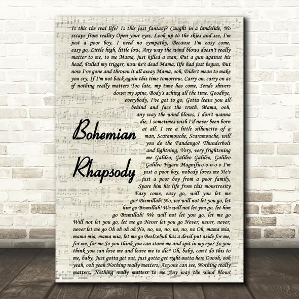 Queen Bohemian Rhapsody Vintage Script Song Lyric Quote Print