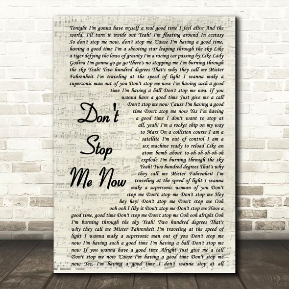 Queen Don't Stop Me Now Vintage Script Song Lyric Quote Print