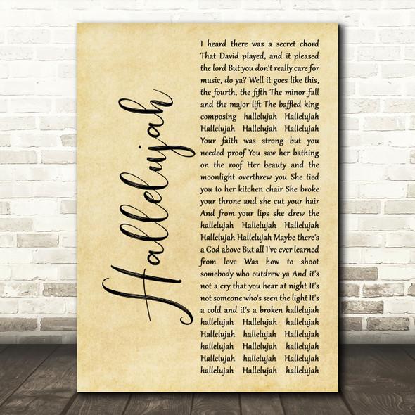 Alexander Burke Hallelujah Rustic Script Song Lyric Music Art Print