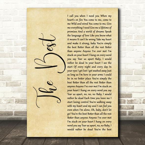 Tina Turner The Best Rustic Script Song Lyric Music Art Print
