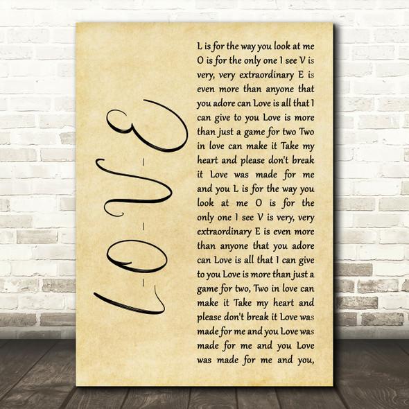 Nat King Cole L-O-V-E Rustic Script Song Lyric Music Art Print