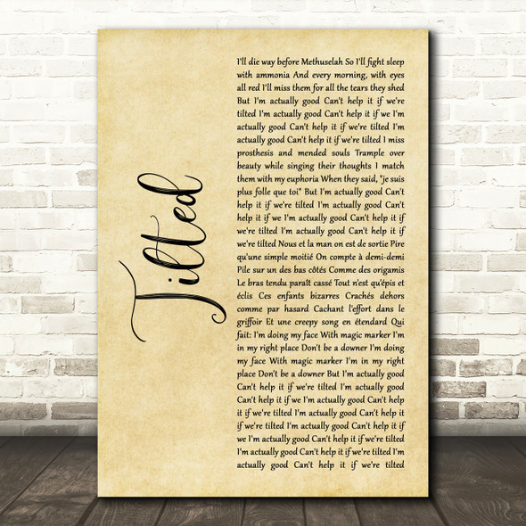 Christine and the Queens Tilted Rustic Script Song Lyric Music Art Print