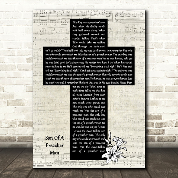 Aretha Franklin Son Of A Preacher Man Music Script Christian Memorial Cross Song Lyric Music Art Print