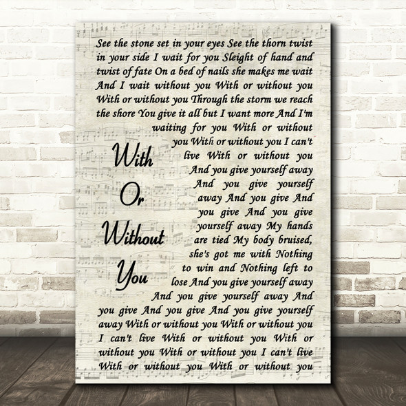 U2 With Or Without You Vintage Script Song Lyric Quote Print