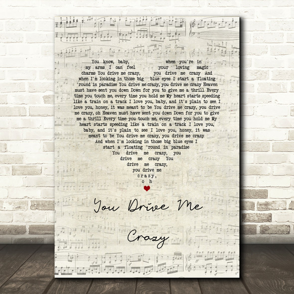Shakin' Stevens You Drive Me Crazy Script Heart Song Lyric Music Art Print
