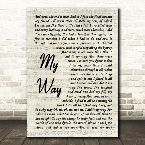 Frank Sinatra My Way Vintage Script Song Lyric Quote Print