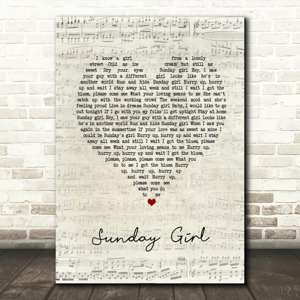 Blondie Sunday Girl Script Heart Song Lyric Music Art Print