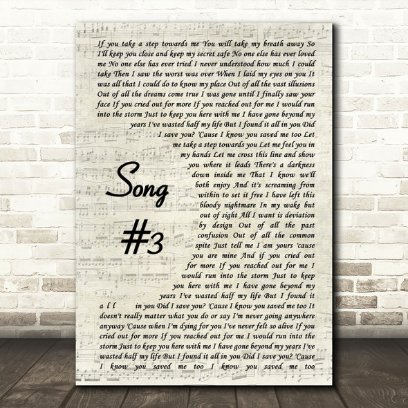 Stone Sour Song 3 Vintage Script Song Lyric Quote Print