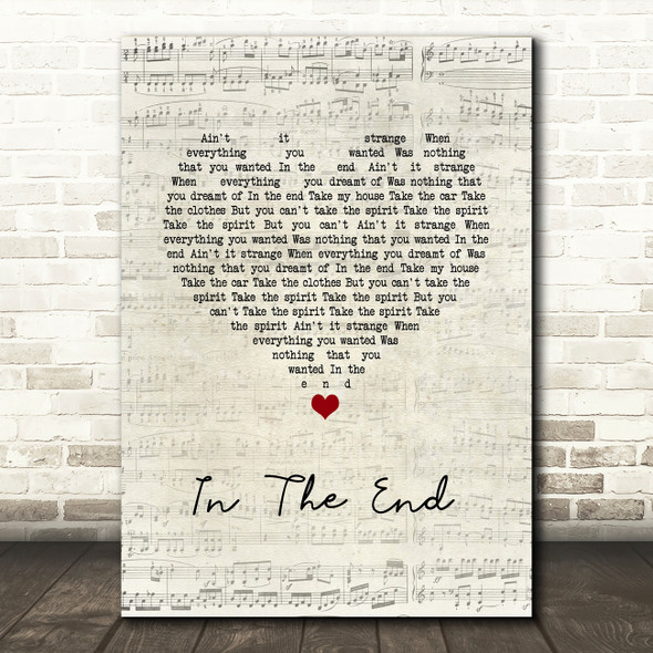 The Cranberries In The End Script Heart Song Lyric Music Art Print