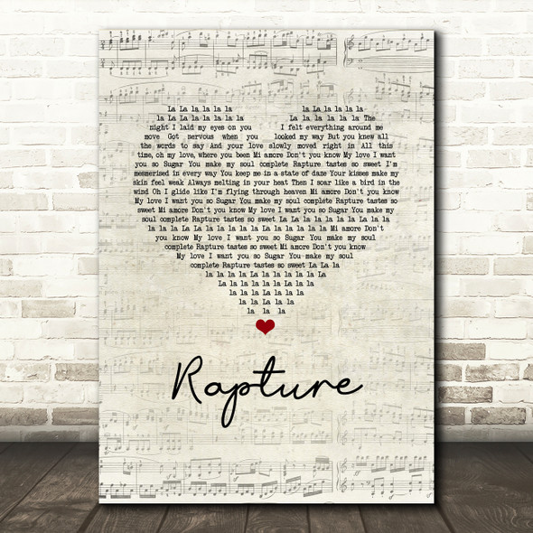 iiO Rapture Script Heart Song Lyric Music Art Print