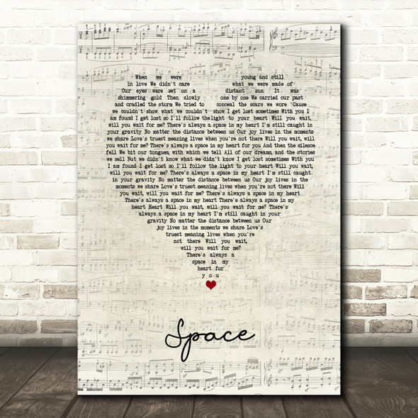 Biffy Clyro Space Script Heart Song Lyric Music Art Print
