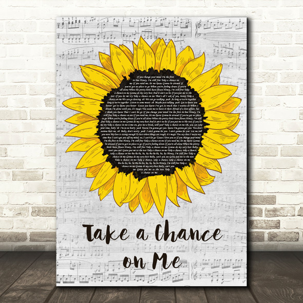 ABBA Take a Chance on Me Grey Script Sunflower Song Lyric Music Art Print