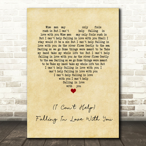 UB40 (I Can't Help) Falling In Love With You Vintage Heart Song Lyric Print